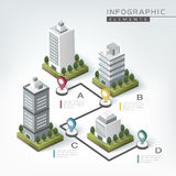 Creative infographic template. Design with business buildings chart Stock Photos