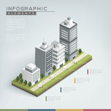 Creative infographic template. Design with business buildings chart Stock Photography