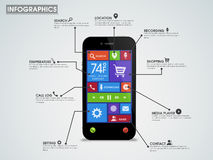 Creative infographic template layout with smartphone. Royalty Free Stock Image
