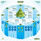 Creative infographics composition, 3d table with layered pyramid. Idea, vector illustration Royalty Free Stock Photo