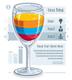 Creative infographics composition, 3d wineglass with three layer. Ed drink idea, cocktail,  illustration Royalty Free Stock Photo