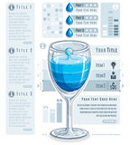 Creative infographics composition, 3d wineglass with three layer Royalty Free Stock Photo