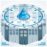 Creative infographics concept, 3d table with layered pyramid ide Stock Photo