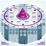 Creative infographics concept, 3d table with layered pyramid ide. A, vector layout illustration Royalty Free Stock Photo