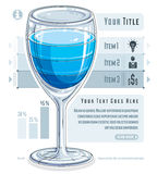 Creative infographics concept, 3d wineglass with three layered l Royalty Free Stock Images