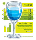 Creative infographics concept, 3d wineglass with three layered l. Iquid idea, cocktail, vector illustration Stock Image