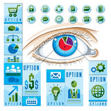 Creative infographics concept, human eye, looking eye idea, vect Royalty Free Stock Photography