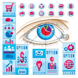 Creative infographics concept, human eye, looking eye idea Stock Photography