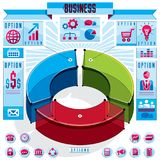 Creative infographics conceptual composition, 3d three sectors c. Ircle idea, vector layout illustration Stock Photos