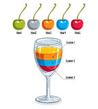 Creative infographics element, 3d wineglass with three layered l Stock Photo