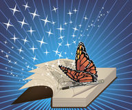 Creative inspiration. A book with a a written poem and a butterfly on a pen Stock Images