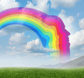 Creative Inspiration. With a rainbow curve shaped as a human head  on a summer sky background as a concept of innovation and the freedom of the mind to think of Stock Photos