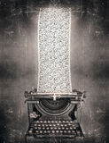 Creative inspiration. Surreal imagine in black and white of a beautiful classic old fashioned typewriter with a very long paper full of the alphabet letters in a stock illustration