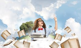 Creative inspiration of young female writer. royalty free stock photo