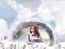 Creative inspiration of young female writer. stock photography