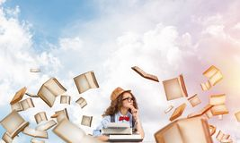 Creative inspiration of young female writer. stock photos