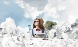 Creative inspiration of young female writer. royalty free stock photography