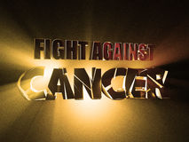Creative Inspiring Motivation to fight cancer. 3d illustration Banner Design Concept, on dark orange background. Creative Inspiring Motivation to fight cancer Royalty Free Stock Photography