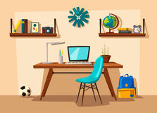 Creative interior. Room of child. Cartoon vector illustration Royalty Free Stock Photos