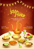 Creative Invitation Card design with date and time details, stylish text of Iftar Party. Creative Invitation Card design with date and time details, stylish royalty free illustration