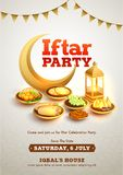 Creative Invitation Card design with date, time and location details for Iftar Party. Creative Invitation Card design with date, time and location details for stock illustration