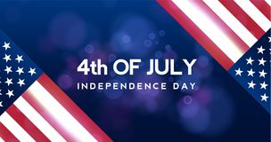 Creative Invitation Flyer decorated American Independence Day Party celebration. 4th of July background, horizontal. Holiday vector pattern with stars of United Stock Image