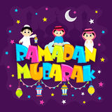 Creative Islamic Elements for Ramadan Mubarak. Colourful text Ramadan Mubarak with Islamic Kids and Traditional Lanterns on Mosque silhouette background for Royalty Free Stock Images