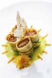 Creative Italian Cuisine: elegant paccheri pasta plate Royalty Free Stock Photography