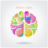 Creative jigsaw left and right brain sign Royalty Free Stock Photography