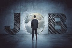 Creative4 job search background. Young businessman looking for a job. Creative background. 3D Rendering Stock Images