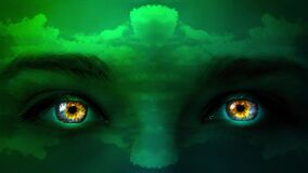 Creative 4k video of a mystic woman`s face of green color close-up with colorful eyes and patterns of moving clouds on her face.