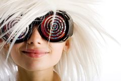 Creative kid. A funny child with crazy x-ray glasses and wild white hair Royalty Free Stock Photography