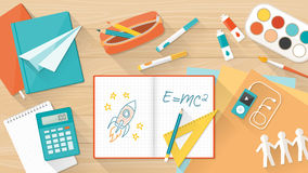 Creative kid desktop. Creative young student desktop with notebook, books and colors, education, learning and childhood concept stock illustration