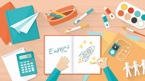 Creative kid desktop. Creative young student desktop with notebook, books and hands, education, learning and childhood concept royalty free illustration