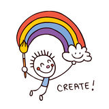 Creative kid painter Royalty Free Stock Images