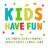 Creative kids funny alphabet and numbers Stock Photo