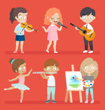 Creative kids . Creative kids playing musical instruments, dancing, painting, playing and singing Stock Photos
