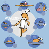 Creative kitchen or cooking website flat icon Royalty Free Stock Photo