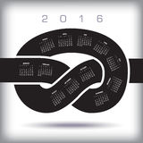 2016 Creative Knot Calendar. Ideal for Those Who are Behind Schedule Royalty Free Stock Photo