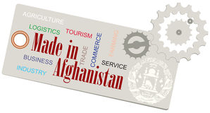 Creative Label Made in Afghanistan Stock Images