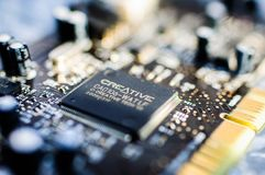 Creative Labs Sound Blaster Board Close Details. Close up details of Creative Labs Sound Blaster board with soft focus background and shallow depth of field Royalty Free Stock Image