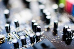 Creative Labs Sound Blaster Board Close Details. Close up details of Creative Labs Sound Blaster board with soft focus background and shallow depth of field Stock Photos