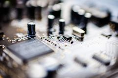 Creative Labs Sound Blaster Board Close Details. Close up details of Creative Labs Sound Blaster board with soft focus background and shallow depth of field Stock Photography