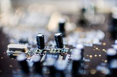 Creative Labs Sound Blaster Board Close Details. Close up details of Creative Labs Sound Blaster board with soft focus background and shallow depth of field Stock Image