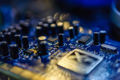 Creative Labs Sound Blaster Board With XFI Logo. Close up details of Creative Labs Sound Blaster board with soft focus background and shallow depth of field Royalty Free Stock Image