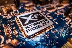 Creative Labs Sound Blaster Board With XFI Logo. Close up details of Creative Labs Sound Blaster board with soft focus background and shallow depth of field Stock Photography
