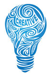 Creative lamp. Consisting of a pattern and embedded in its words Royalty Free Stock Photos