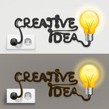 Creative lamp with cable outlet. Vector Illustration Stock Images