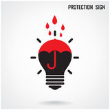Creative lamp and protection concept background Royalty Free Stock Images
