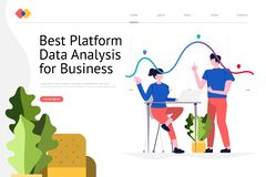 Data Analysis Website. Creative landing page website design concept the best platform for data analysis for business. Vector illustrations. modern flat style vector illustration